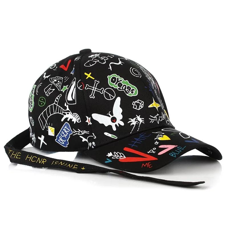 Кепка бейсболка Принт 2 Черная, Унисекс