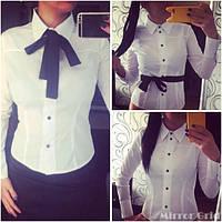 Рубашка белая с черной завязкой ,на кнопках( р 42-46)