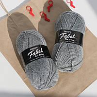 Носочная пряжа Drops Fabel - Uni print, 115 light grey