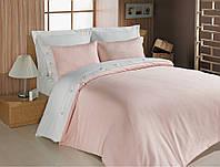 Однотонное постельное белье 200х220 сатин Cotton box Fashion PEMBE нежный персик.