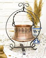 Винтажный медный горшок, кашпо с подставкой для подвеса, медь, металл, ковка, Германия, фото 1
