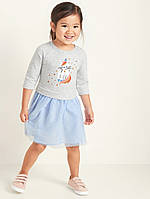 Трикотажное платье с пышной юбочкой туту Единорог кошечка Олд Неви для девочки