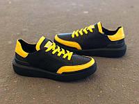 Кожаные детские туфли-слипоны унисекс черные Uk0165