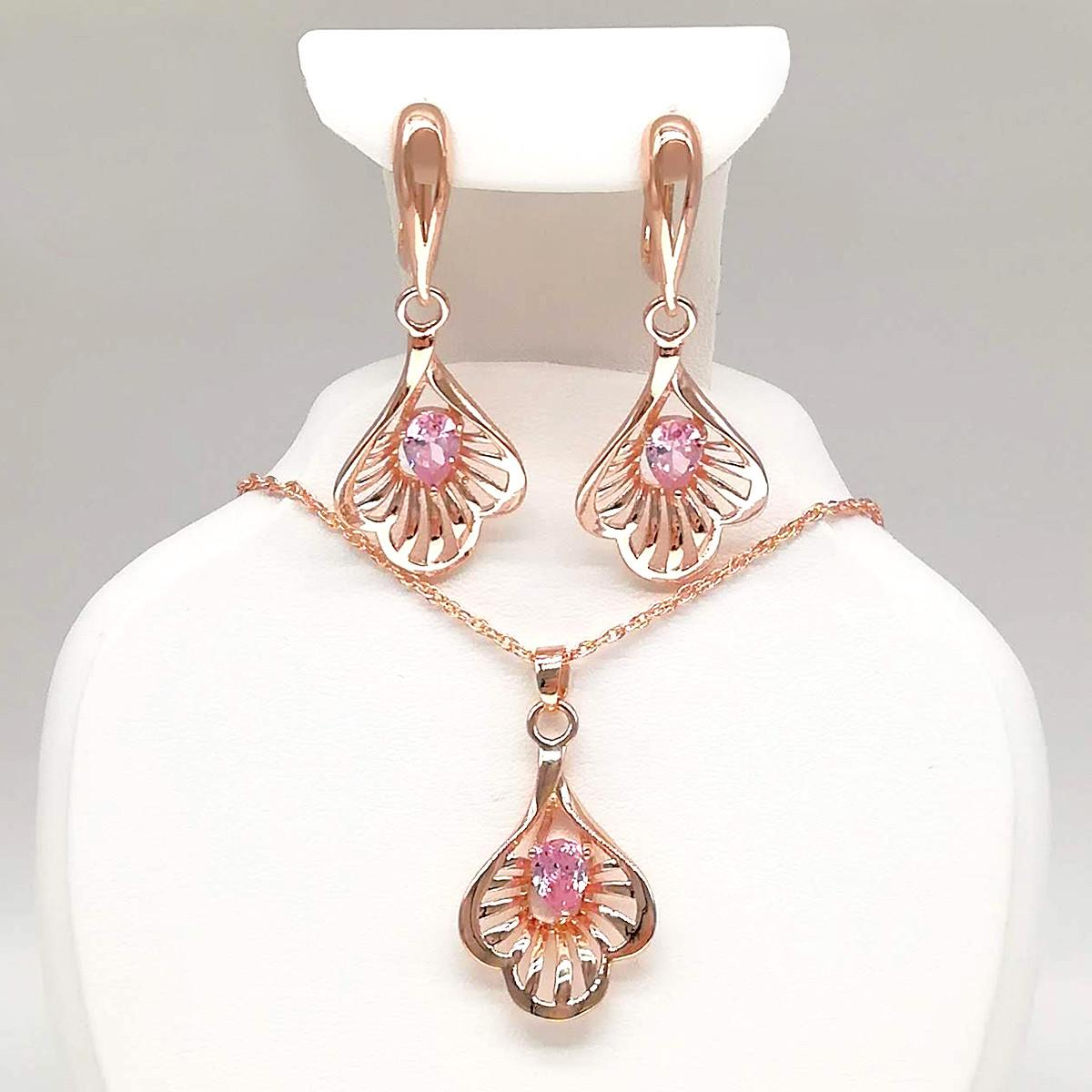 Набор из медицинского золота, розовые фианиты, позолота PO, 73857       (1)