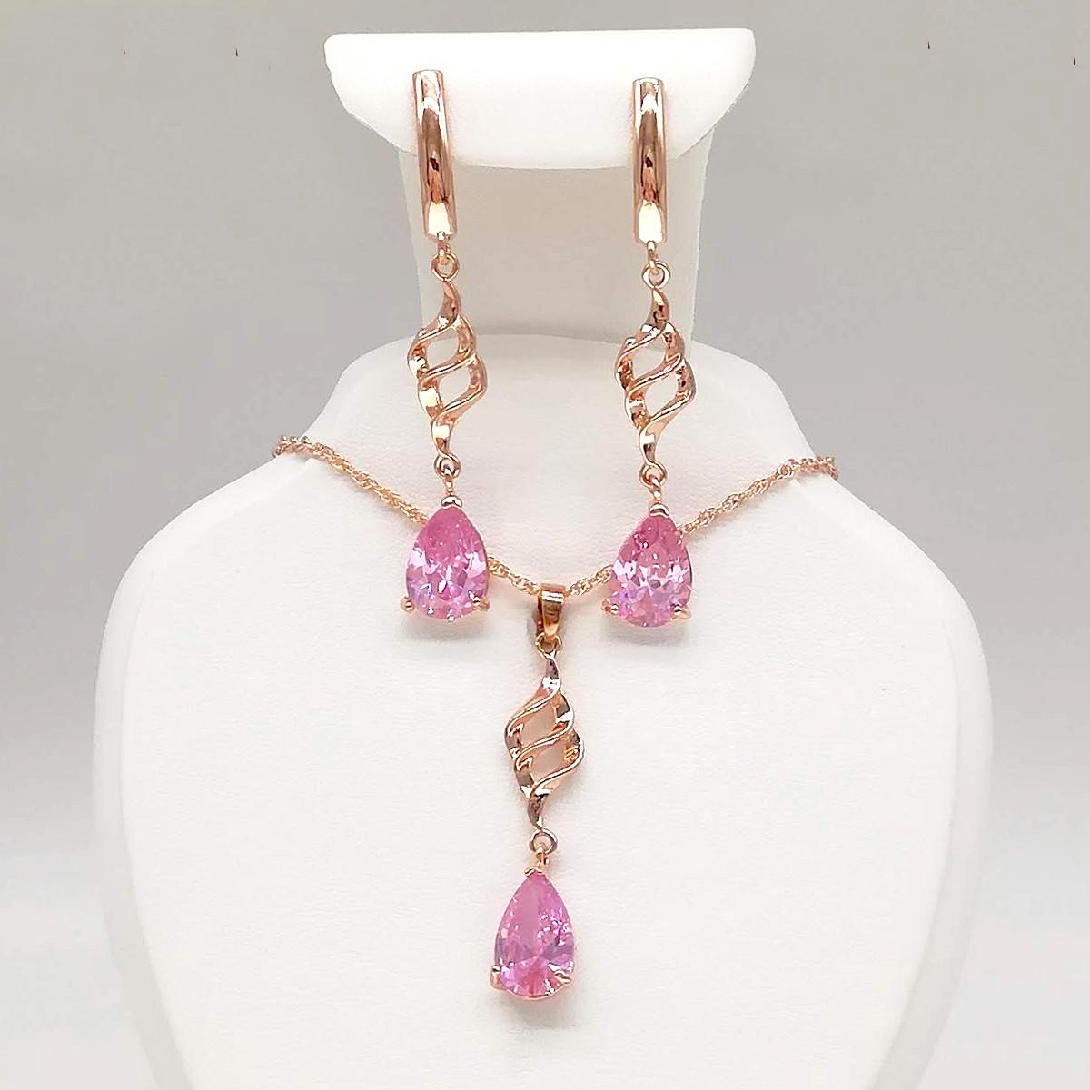 Набор из медицинского золота, розовые фианиты, позолота PO, 73871                                     (1)