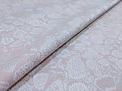 Ткань Жаккард коттоновый цветочная нежность, бледно-розовый