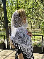 Свадебный фатиновый шарф белый 45*150