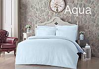 Нежный комплект постельного белья Altinbasak Турция Евро Сатин цвет Морской волны