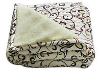 Одеяло шерстяное Евро размера Лери Макс вензеля на бежевом