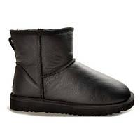 Угги UGG Classic Mini Black Leather черные кожаные
