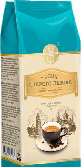 Кофе в зернах, кофе зерновой Старого Львова Лигуминный, кава в зернах, кава смажена у зернах Лігумінна, 1000 г