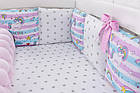 Детская постель «Единорог с радугой» с бортиками и косой, пододеяльником, наволочкой , простынью.  №374, фото 4
