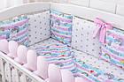 Детская постель «Единорог с радугой» с бортиками и косой, пододеяльником, наволочкой , простынью.  №374, фото 2