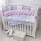 Детская постель «Единорог с радугой» с бортиками и косой, пододеяльником, наволочкой , простынью.  №374, фото 5