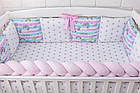 Детская постель «Единорог с радугой» с бортиками и косой, пододеяльником, наволочкой , простынью.  №374, фото 3