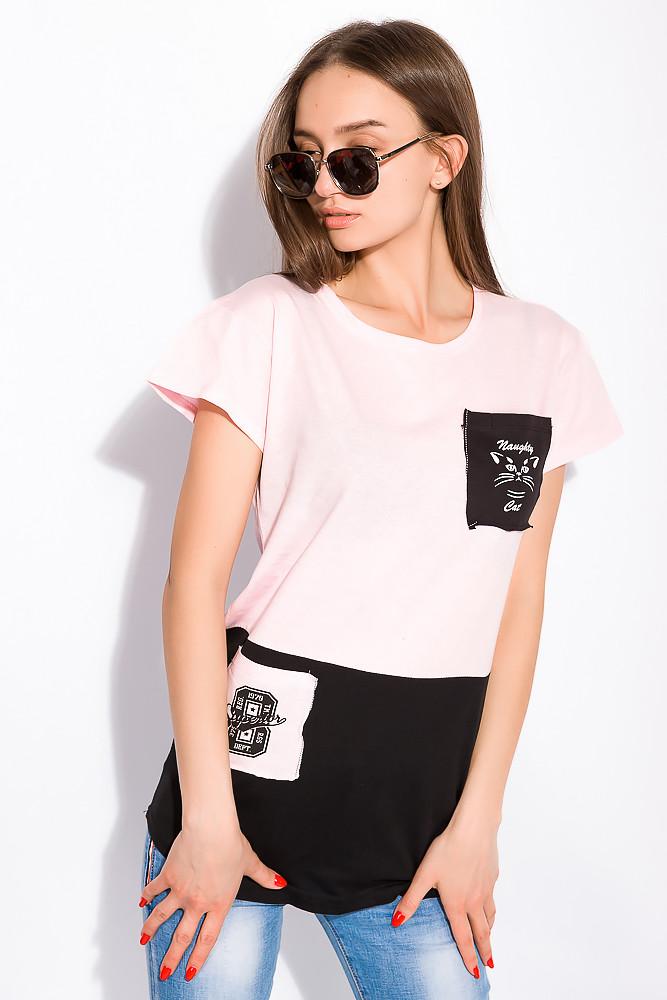 Хлопковая футболка с принтом на кармане 317F077  (Розовый)