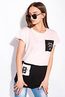 Хлопковая футболка с принтом на кармане 317F077  (Розовый), фото 1