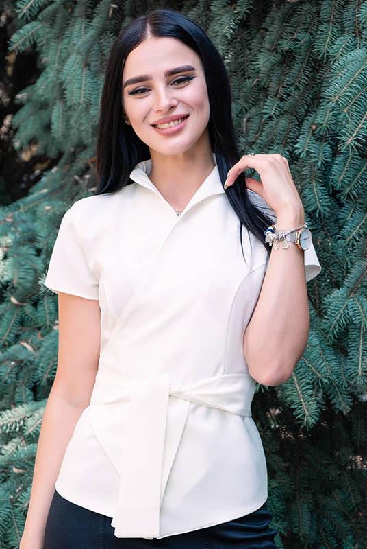 Однотонна блузка льон Уїтні, молочна