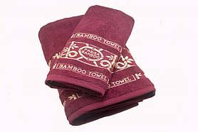 Набор махровых полотенец Parisa Бамбук хлопковые 50х90, 70х140 бордовый SKL53-240116