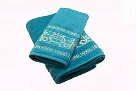 Набор махровых полотенец Parisa Бамбук хлопковые 50х90, 70х140 голубой SKL53-240105