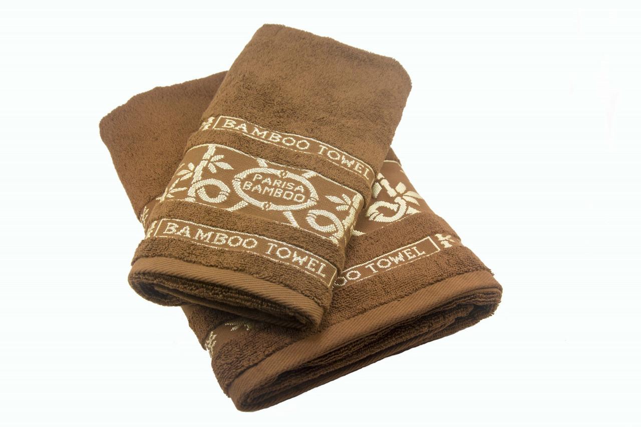 Набор махровых полотенец Parisa Бамбук хлопковые 50х90, 70х140 коричневый SKL53-239753