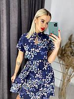 Женское летнее легкое красивое миди платье с коротким рукавом (софт) 2 цвета
