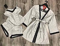 Хлопковый женский комплект тройка  халат и пижама(майка+шорты) кружевом 003-012-серый.
