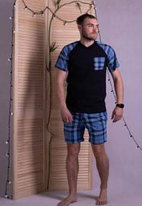 Синий домашний костюм в клетку футболка и шорты 44-62 р