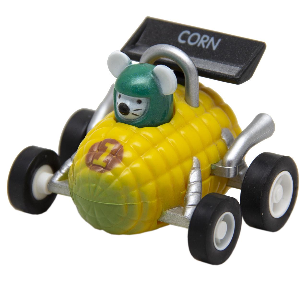 Мышонок-гонщик инерционный Aohua машинка в форме кукурузы 4,5 см, пластик. (MR-12C-7)