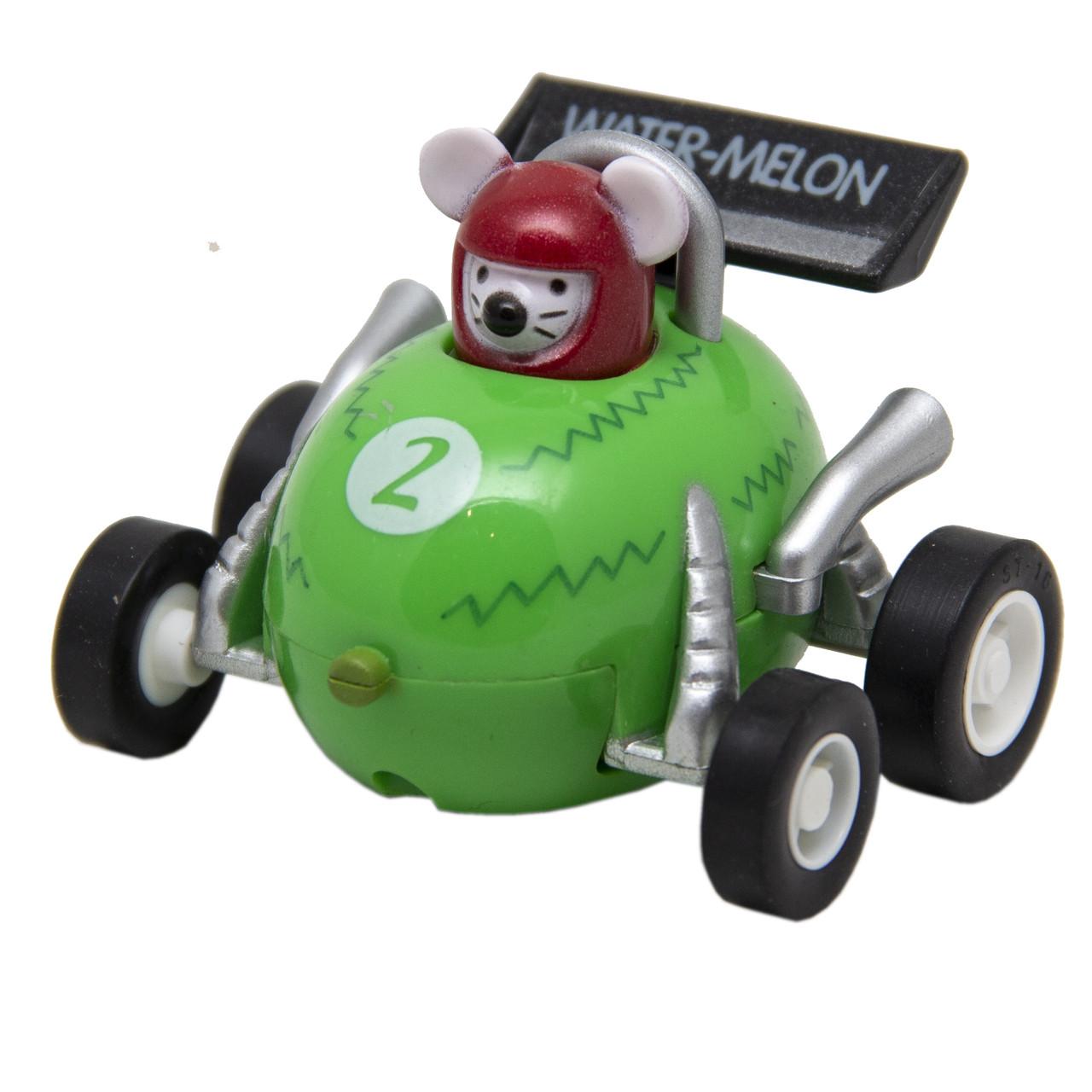 Игрушка инерционная - мышонок-гонщик Aohua, машинка в форме арбуза 4,5 см, пластик (MR-12C-9)