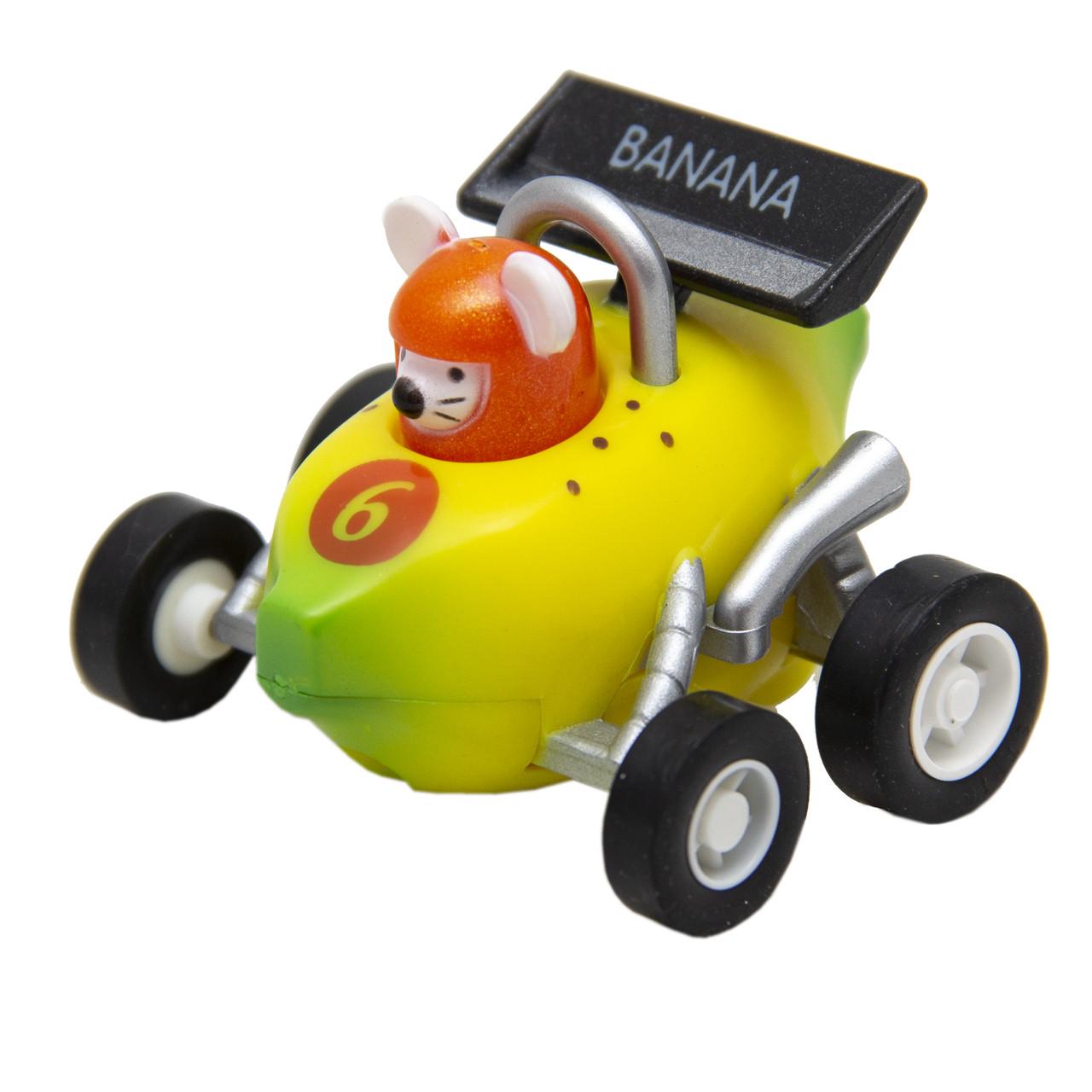 Іграшка інерційна - мишеня-гонщик Aohua, машинка у формі банана 4,5 см, пластик (MR-12C-10)