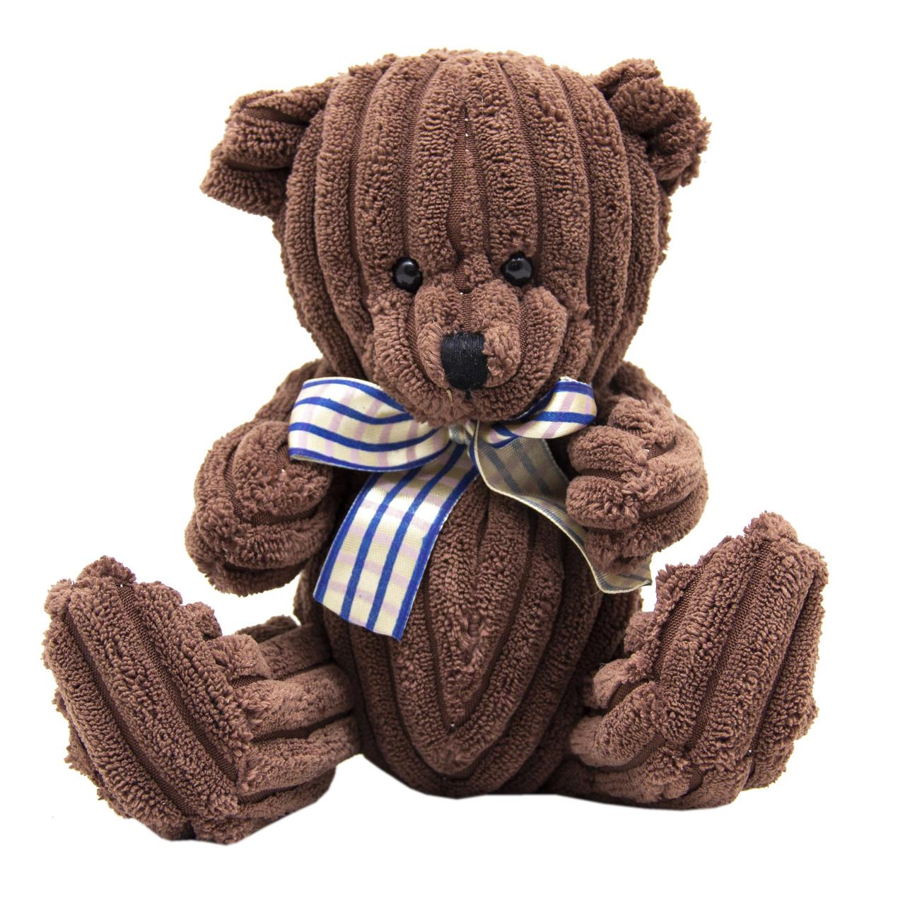 Мягкая игрушка - медведь в полоску, 15 см, коричневый, полиэстер (043165-6)