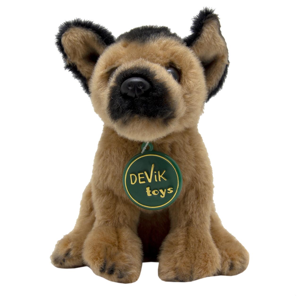 М'яка іграшка - собака Німецька вівчарка, 16 см, коричневий, поліестер (JD-2744(PA))