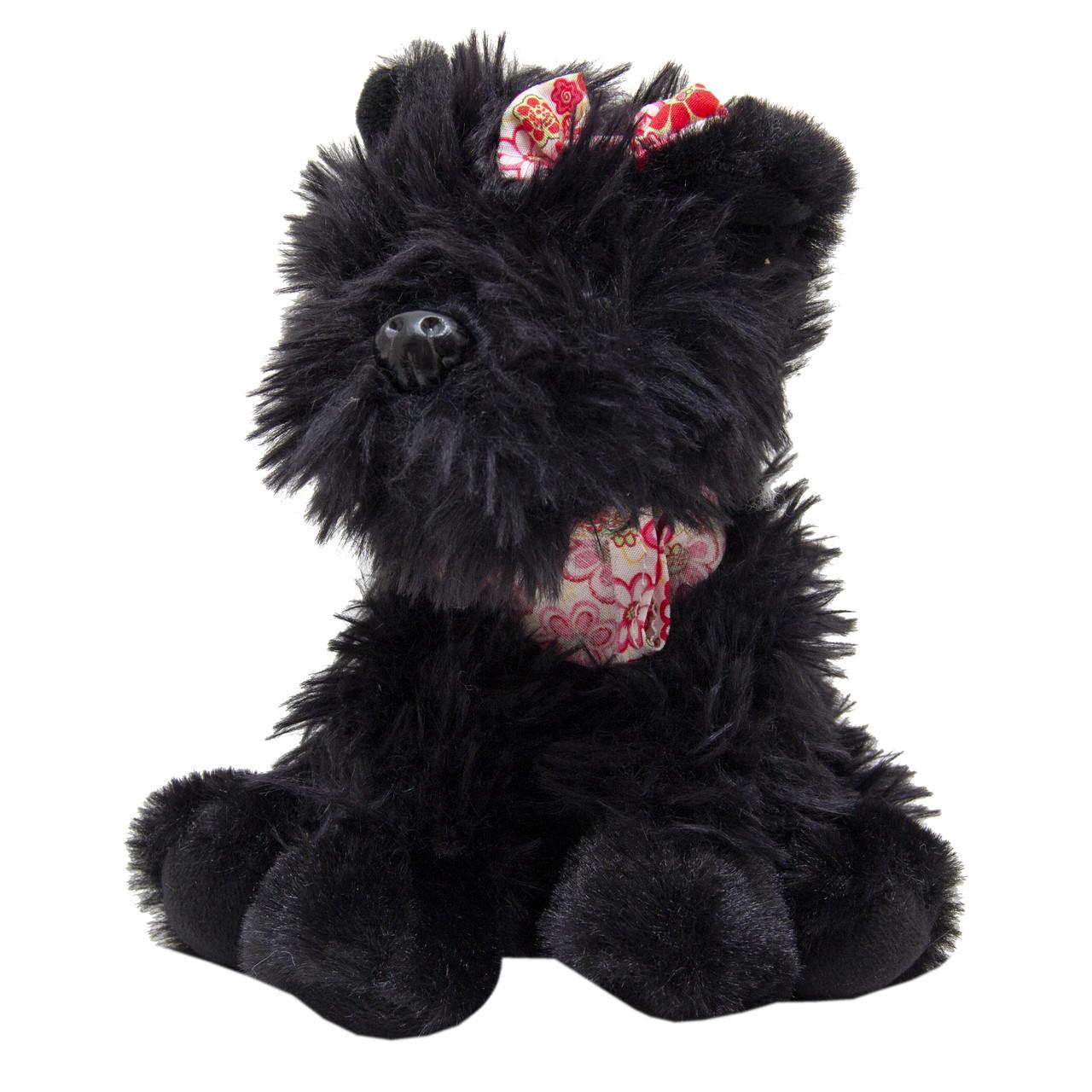 М'яка іграшка - собака з бантиком, що сидить, 16 см, чорний, поліестер (X1620716-2)