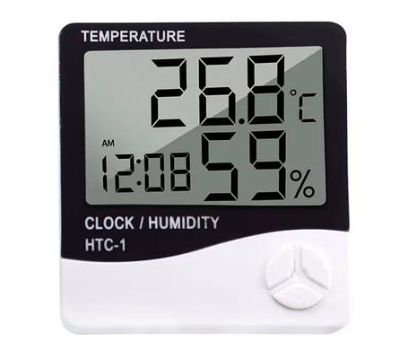 Цифровой комнатный термометр - гигрометр с часами и  будильником HTC-1, фото 2