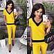 Женский стильный летний костюм,штаны на резинке (габардин) 4 цвета, фото 5