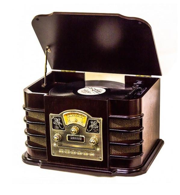 Ретро проигрыватель винила Daklin Даллас (AM/FM-стерео, USB/CD MP3, AUX, BT) дерево Шоколадный орех (RP-131)