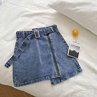 Женская летняя джинсовая юбка с косой молнией 6511387