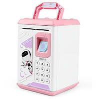 Детская копилка сейф Robot Bodyguard с отпечатком пальца Pink (3475), фото 1