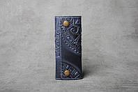 """Ключница кожаная синяя, орнамент """"этно"""", 6 карабина, фото 1"""