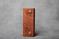 """Ключница кожаная рыжая, орнамент """"этно"""", 6 карабина, фото 1"""