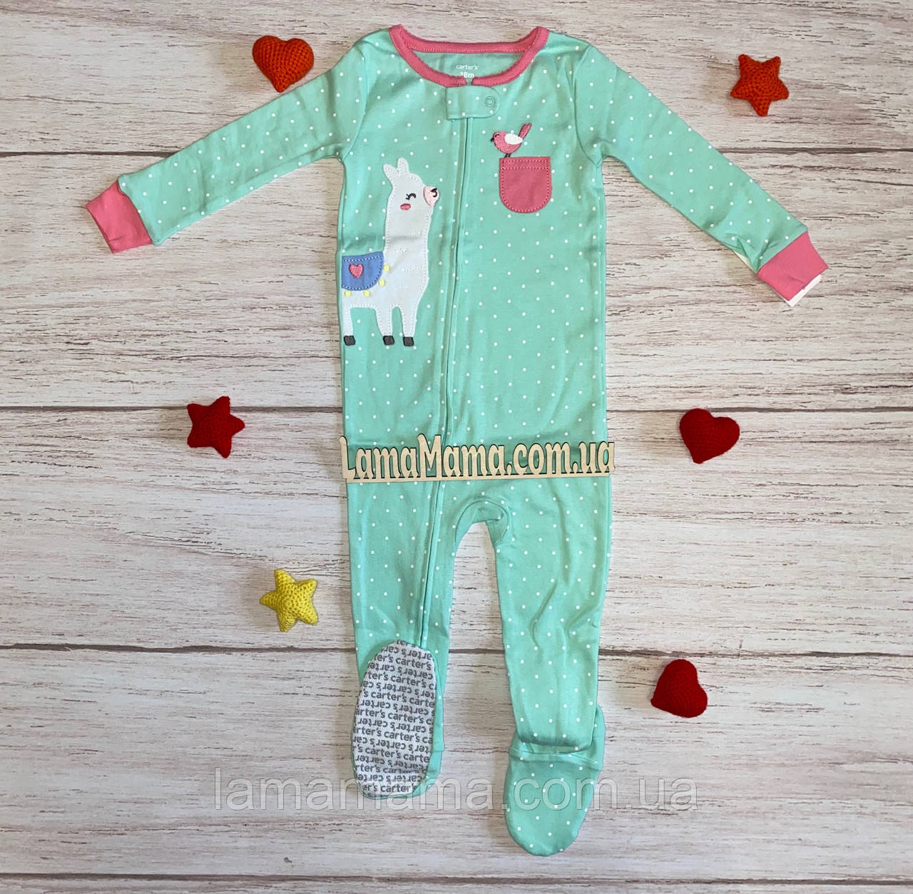 Хлопковая пижама слип Лама Картерс 1-Piece Llama Snug Fit Cotton Footie PJs