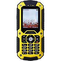 Телефон кнопочный сигма противоударныйна 2 симки с батареей большой емкости Sigma X-treme PQ67 Yellow-Black