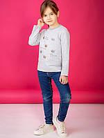 Детская кофта для девочки со стразами и принтом корона светло-серая 110,116,122