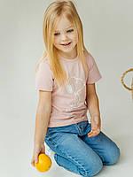 Детская футболка с принтом нежно-розовая з собачкой размер 122