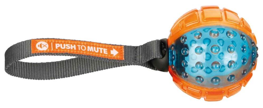 Игрушка для собак trixie мяч Push to mute на веревке термопластрезина 7см/22см