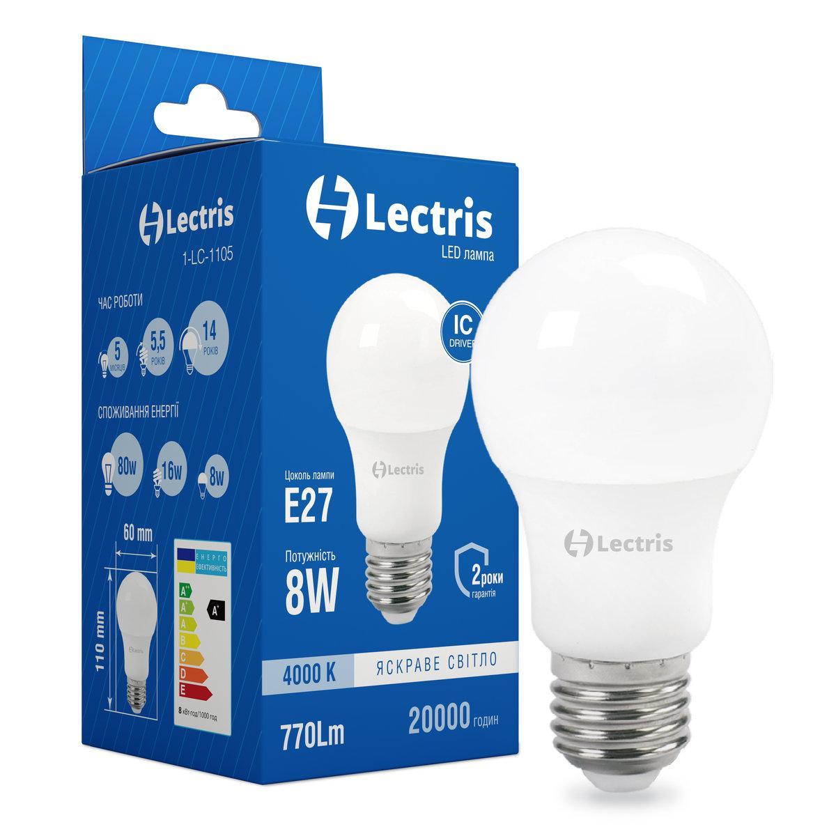 Светодиодная лампа Lectris LED A60 8W 4000K 220V E27