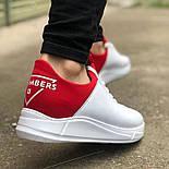 😜Кросівки - Чоловічі кросівки белын з червоним задником, фото 2
