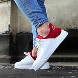 😜Кросівки - Чоловічі кросівки белын з червоним задником, фото 4