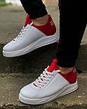 😜Кросівки - Чоловічі кросівки белын з червоним задником, фото 3